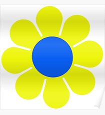 Yellow Blue Hippy Flower Daisy Poster