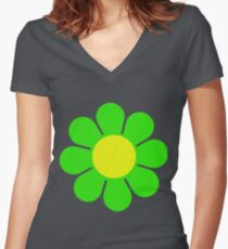 Green Yellow Hippy Flower Daisy Women's Fitted V-Neck T-Shirt