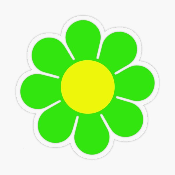 Green Yellow Hippy Flower Daisy Transparent Sticker