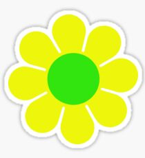Yellow Green Hippy Flower Daisy Sticker