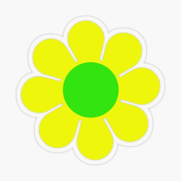 Yellow Green Hippy Flower Daisy Transparent Sticker