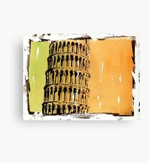 Leaning Tower of Pisa, Italy.  Watercolor painting Canvas Print
