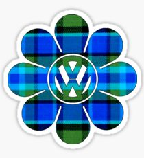 Hippy Flower Blue Plaid Volkswagen Westfalia Sticker