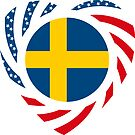 Swedish American Multinational Patriot Flag Series 2.0 by Carbon-Fibre Media