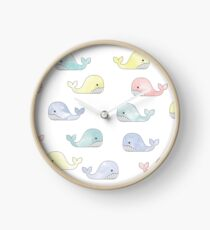 Watercolour Whales Clock