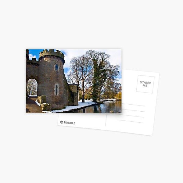 Whittington Castle with snow Postcard
