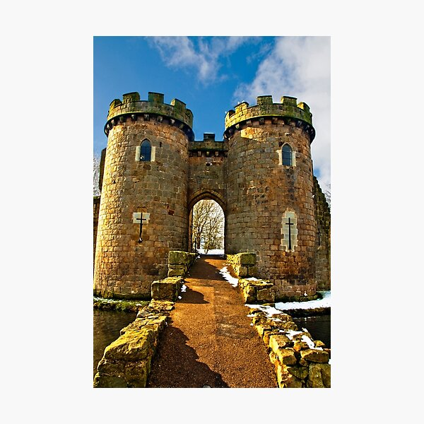 Whittington Castle gatehouse with snow Photographic Print