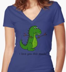 T-Rex Dinosaur with Grabbers - I love you this much! Women's Fitted V-Neck T-Shirt