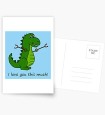 T-Rex Dinosaur with Grabbers - I love you this much! Postcards