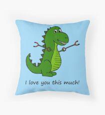 T-Rex Dinosaurier mit Grabbern - Ich liebe dich so sehr! Dekokissen