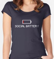 Low Social Battery  Women's Fitted Scoop T-Shirt