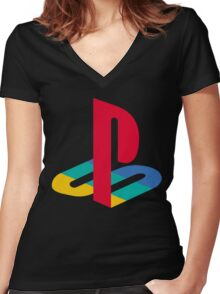 Playstation Logo t shirt Women's Fitted V-Neck T-Shirt