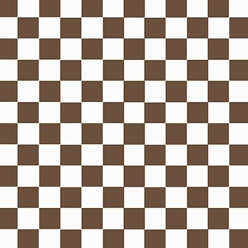 Brown and White Squares Pattern Print by Meowkittykat