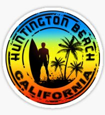 Surfing HUNTINGTON BEACH CALIFORNIA Surf Surfer Surfboard Waves Ocean Sticker