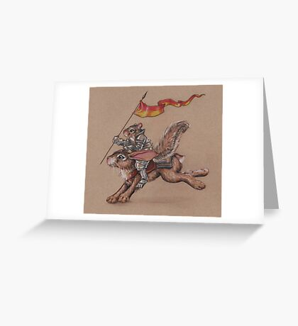 Squirrel in Shining Armor with trusted Bunny Steed  Greeting Card