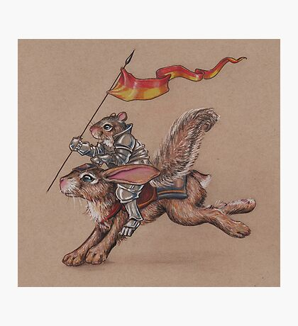 Squirrel in Shining Armor with trusted Bunny Steed  Photographic Print