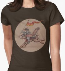 Squirrel in Shining Armor with trusted Bunny Steed  Womens Fitted T-Shirt