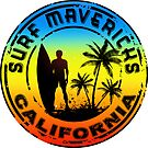 Surfing Mavericks Maverick's California Surf Surfboard Waves Half Moon Bay by MyHandmadeSigns