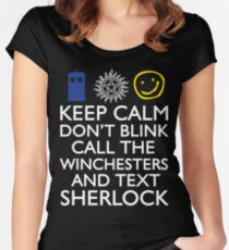 SUPERWHOLOCK SUPERNATURAL DOCTOR WHO SHERLOCK Women's Fitted Scoop T-Shirt