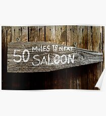 Wild West Saloon Sign Poster