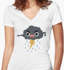 Grumpy Cloud Women's Fitted V-Neck T-Shirt