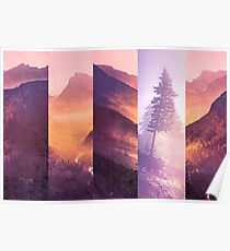 Mountains and Forest Trees - Purple Mountain Wildfire Smoke Tree Poster
