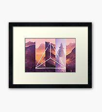 Forest Mountain Trees - Geometric Nature Wildfire Rebirth Framed Print