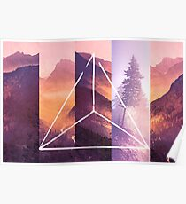 Forest Mountain Trees - Geometric Nature Wildfire Rebirth Poster