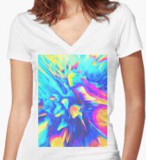 Split Women's Fitted V-Neck T-Shirt