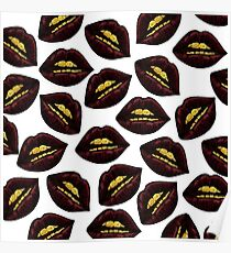 Red Black Lips and Faux Sparkly Gold Grill Teeth Poster