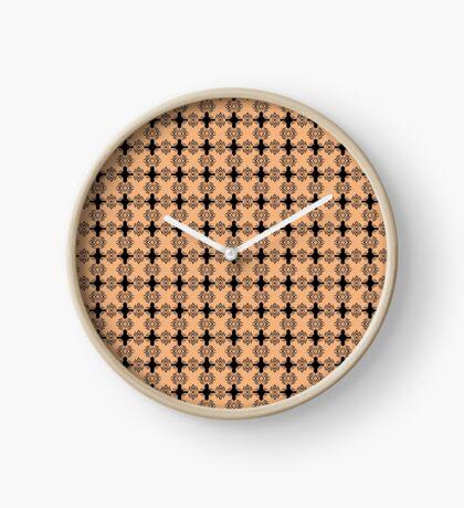 Peachy Tan with Black Stripes Clock