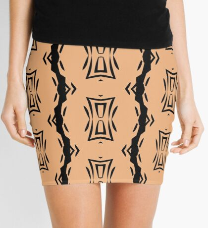 Peachy Tan with Black Stripes 2 by Julie Everhart Mini Skirt