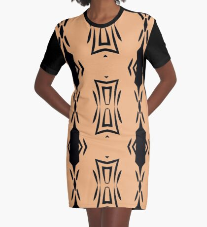 Peachy Tan with Black Stripes 2 by Julie Everhart Graphic T-Shirt Dress