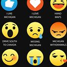 I Love Michigan USA State Emoji Emoticon Funny Graphic T-Shirt by DesIndie