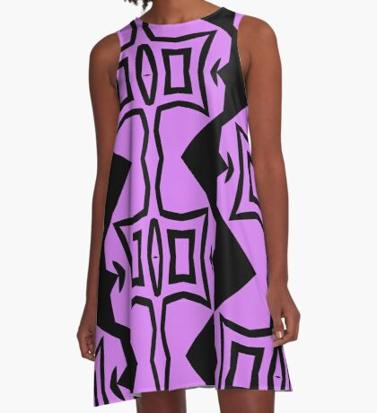 Lavender and Black Design 2 by Julie Everhart A-Line Dress