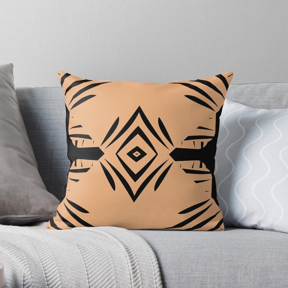 Peachy Tan with Black Stripes Throw Pillow