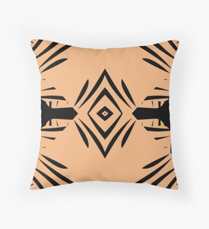 Peachy Tan with Black Stripes Throw Pillow