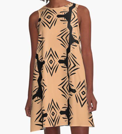 Peachy Tan with Black Stripes A-Line Dress