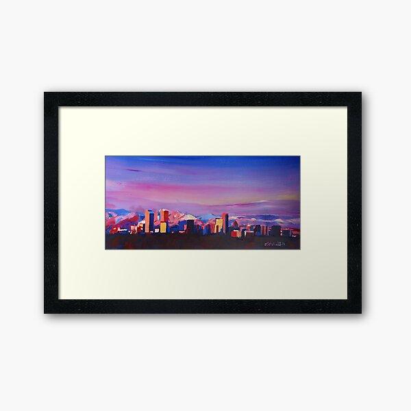 Denver Colorado Skyline With Luminous Rocky Mountains Framed Art Print
