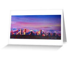 Denver Colorado Skyline With Luminous Rocky Mountains Greeting Card