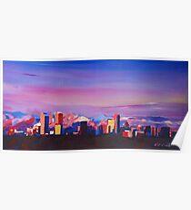 Denver Colorado Skyline mit leuchtenden Rocky Mountains Poster