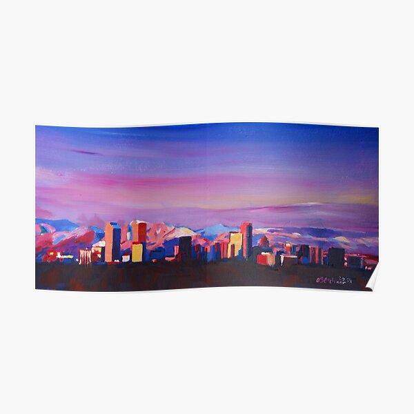 Denver Colorado Skyline With Luminous Rocky Mountains Poster