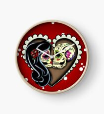 Ashes - Day of the Dead Couple - Sugar Skull Lovers Clock