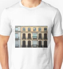 Decorative building facade from Seville, Spain with arched windows and doors T-Shirt