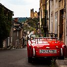 Red Car Najac by Rob Lewis