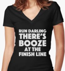Absolutely Fabulous - Run darling there's booze at the finish line Women's Fitted V-Neck T-Shirt