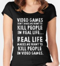 Real Life makes me wanna Women's Fitted Scoop T-Shirt