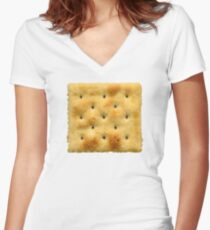 White Saltine Soda Cracker Women's Fitted V-Neck T-Shirt