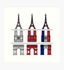 France_icons_outline Art Print