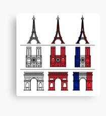 France_icons_outline Canvas Print